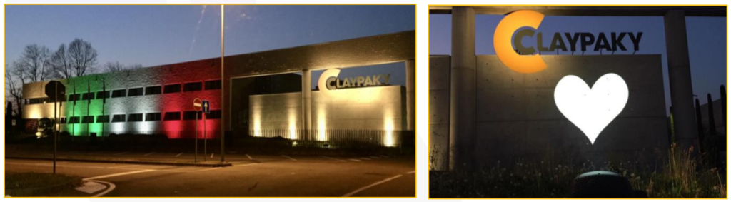 Architectural lighting on Claypaky headquarters in Italy