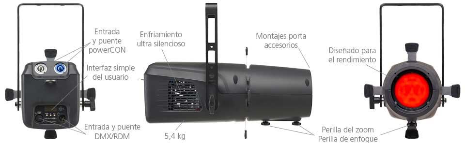 Especificaciones del diseño de la luminaria ColorSource Spot jr
