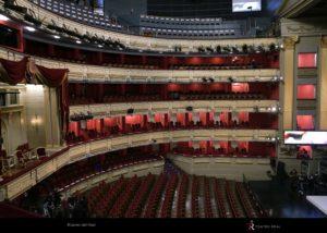 Patio de butacas Teatro Real con productos de desinfección UV-C